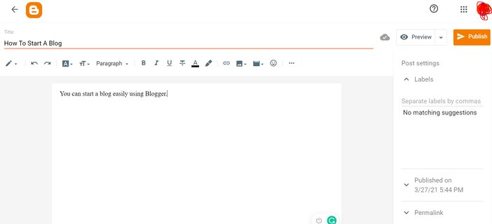 Creating A Post in Blogger
