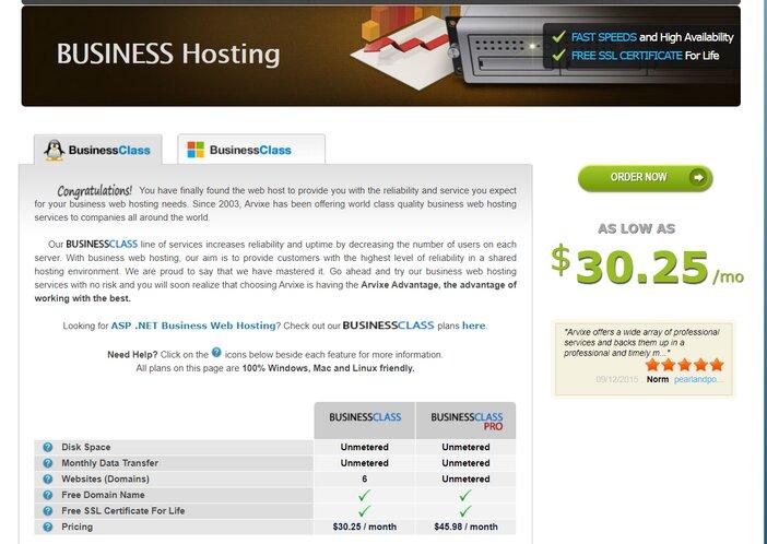 Arvixe BusinessClass Linux Hosting Plan