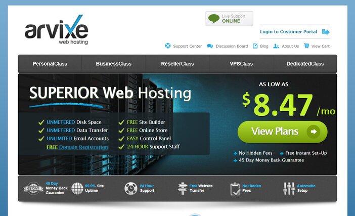 Arvixe Hosting Homepage