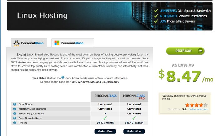 Arvixe PersonalClass Linux Hosting Plan