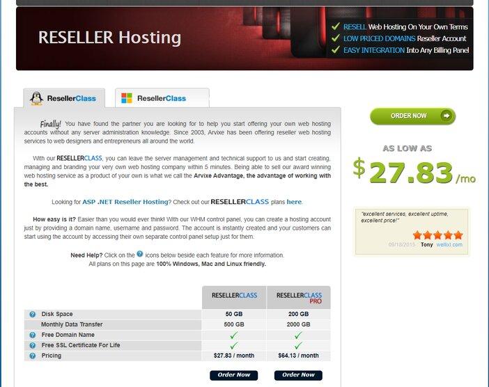 Arvixe ResellerClass Linux Hosting Plan
