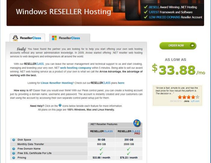 Arvixe ResellerClass Windows Hosting Plan
