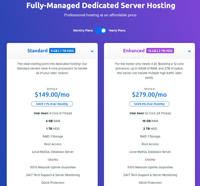 DreamHost Fully Managed Dedicated Hosting Pricing Plans