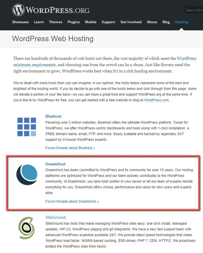 DreamHost Recommended WordPress Host