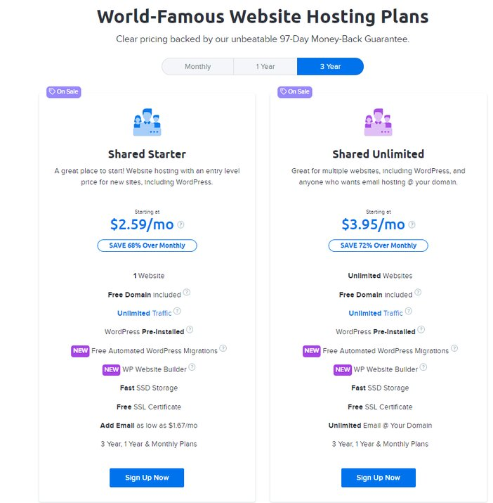 DreamHost Website Hosting Pricing Plans