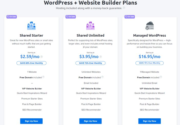 DreamHost WordPress and Builder Hosting Pricing Plans