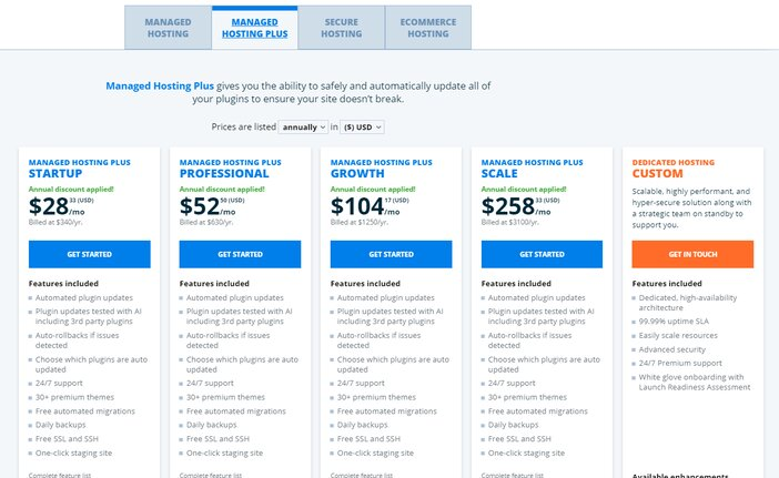 WP Engine Managed Hosting Plus Pricing Plan