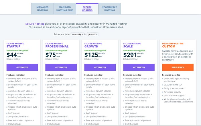 WP Engine Secured Hosting Plus Pricing Plan