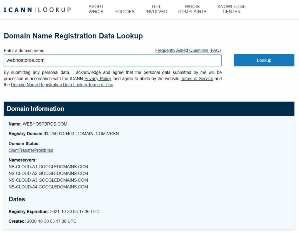 WebHostBros ICANN Lookup