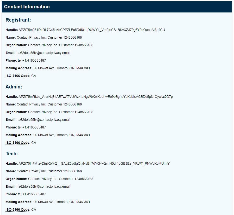 WebHostBros ICANN Lookup Contact Infomation