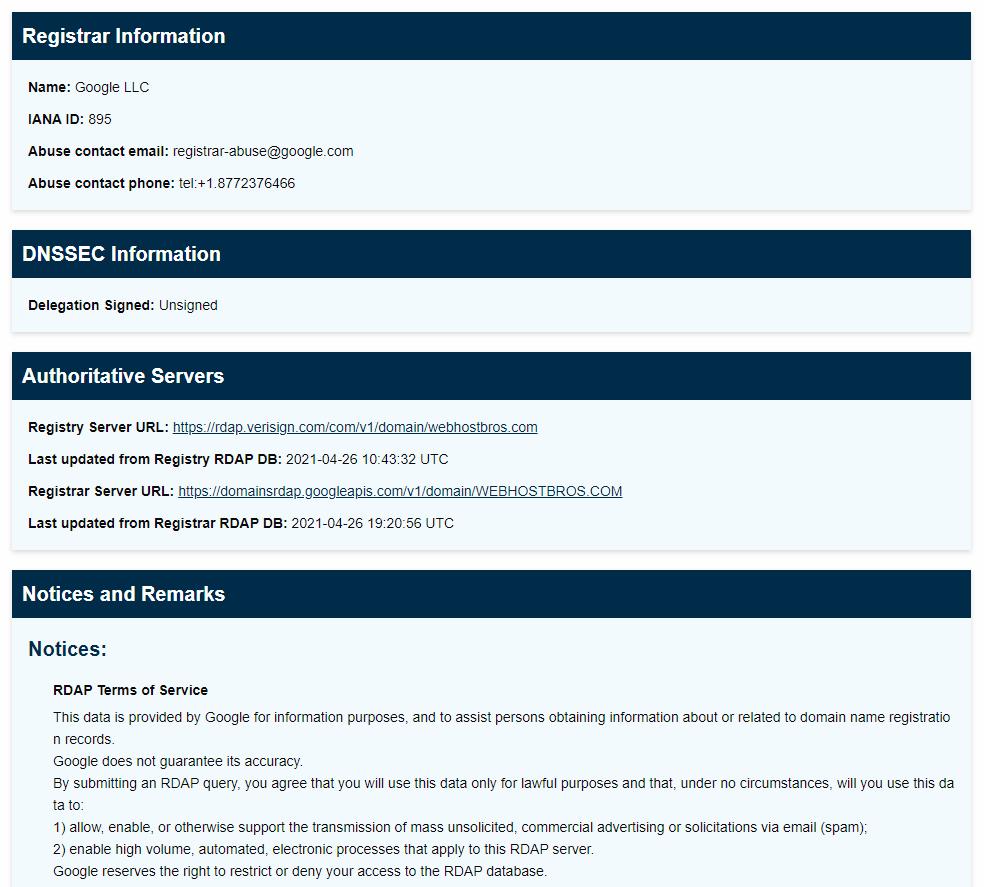 WebHostBros ICANN Lookup Other Infomation