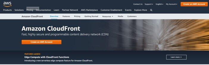 Amazon Cloudfront CDN Homepage