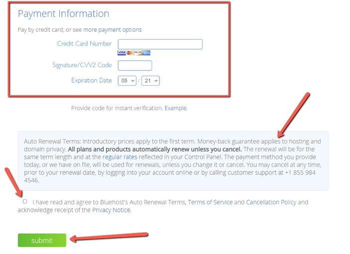 Bluehost Payment details