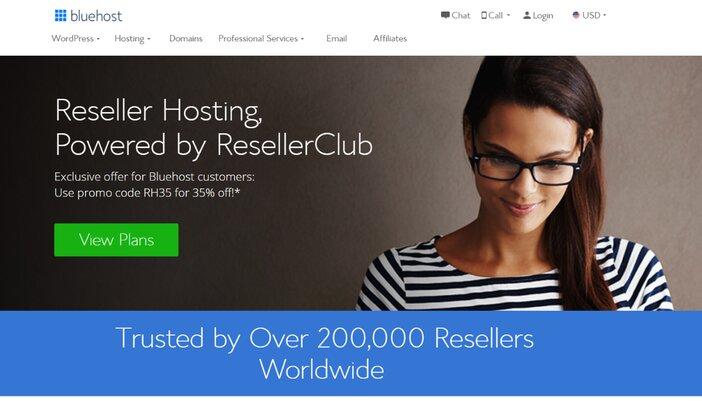 Bluehost Reseller Hosting Homepage