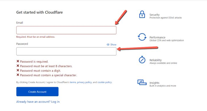 Cloudflare Sign up Page