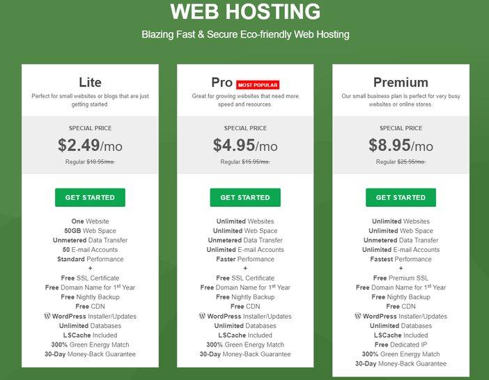 GreenGeeks Starter Lite Pricing