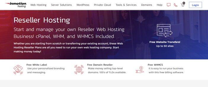 InMotion Reseller Hosting Homepage