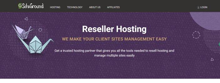 Siteground Reseller Hosting Homepage
